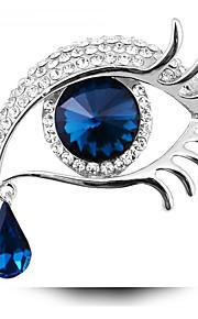 Women's Fashion Suspended Teardrop Long Eyelashes Big Eyes Jewelry Gift Silver Rhinestone Crystal Party Brooch