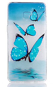 TPU Material Blue Butterfly Pattern Painted Relief Phone Case for Samsung Galaxy Note 7
