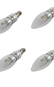 3 E14 LED-lysestakepærer A60(A19) 6 SMD 5630 270-300 lm Varm hvit / Kjølig hvit Dekorativ AC 85-265 / AC 220-240 / AC 110-130 V 4 stk.