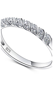 Solid 925 Sterling Silver Ring Cubic Zirconia Engagement Bridal wedding Fashion Women's Jewelry