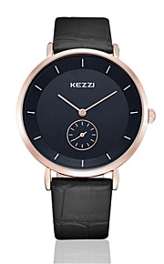 kezzi simple style leather band quartz couple watch1080D