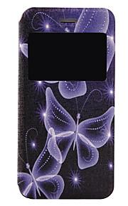 Modelo de mariposa azul fenestración caja del teléfono material de la PU del tirón para el iphone con la ventana 7 7 más