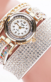 Damen Armband-Uhr Quartz / Leder Band Armreif Schwarz / Weiß / Silber Marke