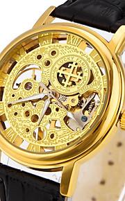 Masculino Relógio Esqueleto / Relógio de Moda / Relógio de Pulso / relógio mecânico Automático - da corda automáticamente Gravação Oca