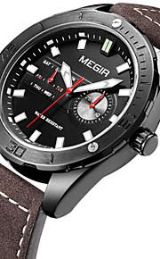 Masculino Relógio Elegante / Relógio de Pulso Quartz Calendário / Cronógrafo / Cronômetro / Noctilucente / / Couro Banda Casual Preta
