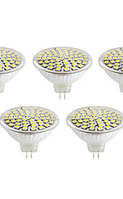 5W GU10 / GX5.3 LEDスポットライト MR16 60led SMD 2835 500lm lm 温白色 / クールホワイト 装飾用 V 5個