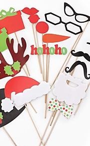 17pcs foto rekvisita juldekoration jullock&röda läppar&mustasch