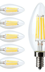 4W E14 Lampadine LED a incandescenza C35 4 COB 400 lm Bianco caldo Intensità regolabile / Decorativo AC 220-240 V 6 pezzi