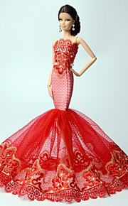 Princess Dresses For Barbie Doll Red Lace Dresses