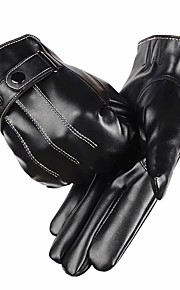Men Leather Gloves Touch Screen PU leather Gloves Male Autumn and Winter Thermal Thickening Cold-proof Mittens