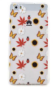 Para Transparente / Diseños Funda Cubierta Trasera Funda Flor Suave TPU Huawei Huawei P9 Lite / Huawei P8 Lite