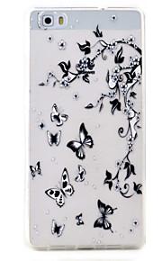 Para Transparente / Diseños Funda Cubierta Trasera Funda Mariposa Suave TPU Huawei Huawei P9 Lite / Huawei P8 Lite