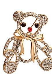 hot salg lysende krystal Bjørn med bowknot broche for kvinder