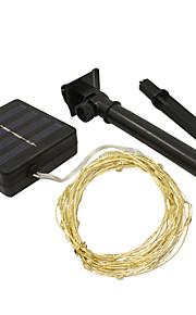 Jiawen 100 ledede sol string lys 33ft (10m) kobbertråd lys jul party string lys