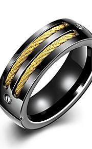 Ringe Bryllup / Party / Daglig / Afslappet Smykker Rustfrit Stål / Guldbelagt Herre Ring 1pc,7 / 8 / 9 / 10 Gul Guld