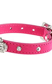 Katter / Hundar Halsband Justerbara/Infällbar Solid Röd PU Läder