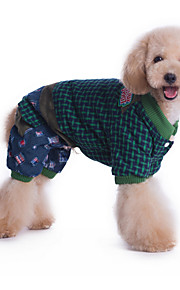 Cani Tuta Rosso / Verde Abbigliamento per cani Inverno / Primavera/Autunno Righe Casual /