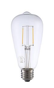 2W E26 LED-glødepærer ST21 2 COB 220 lm Varm hvit Dimbar / Dekorativ AC 110-130 V 1 stk.