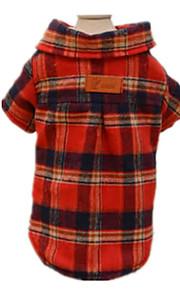 Hundar T-shirt Röd Hundkläder Vinter / Vår/Höst Rutig / Check Ledigt/vardag