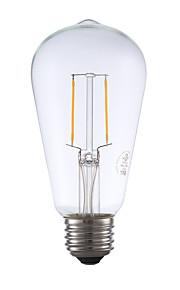 2W E26 LED-glødepærer ST19 2 COB 220 lm Varm hvit Dimbar / Dekorativ AC 110-130 V 1 stk.