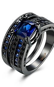 Ringe Kvadratisk Zirconium Daglig Afslappet Smykker Zirkonium Plastik Titanium Stål Wolfram stål Dame Ring 1 Stk.,6 7 8 9 Sort Blå