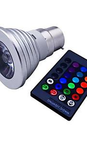 3W E14 / GU10 / B22 / E26/E27 LED-spotpærer MR16 1 Høyeffekts-LED 110 lm RGB Dimbar / Fjernstyrt / Dekorativ V 1 stk.