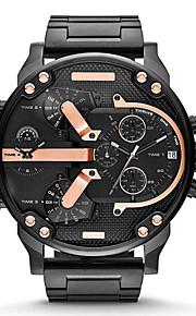 Masculino Relógio Militar Relógio de Moda Quartzo Calendário Aço Inoxidável Banda Luxuoso DouradaPreto Cinzento Dourado Preto/Azul