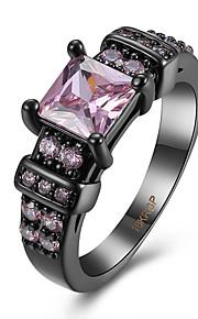 Ringe Kvadratisk Zirconium Daglig Afslappet Smykker Zirkonium Plastik Titanium Stål Wolfram stål Dame Ring 1 Stk.,6 7 8 9 Pink