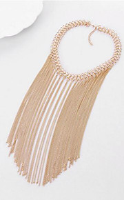 MPL European and American fashion texture multilayer metal chain necklace tassel