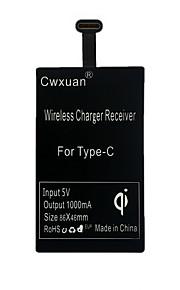 cwxuan® ultrafinos tipo-c qi receptor carregador portátil sem fio para telefones móveis do tipo C