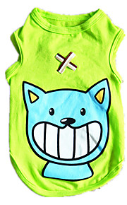 Dog Shirt / T-Shirt Vest Green Dog Clothes Winter Spring/Fall Cartoon Casual/Daily