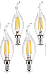 4W E14 LED필라멘트 전구 CA35 4 COB 400 lm 따뜻한 화이트 차가운 화이트 AC 220-240 V 6개