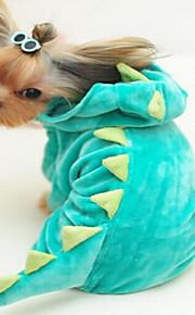 개 코트 그린 로즈 강아지 의류 겨울 솔리드 귀여운