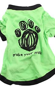 Hundar T-shirt Grön Hundkläder Sommar Enfärgat Gulligt Ledigt/vardag