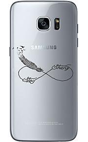 Para Ultra-Fina Transparente Estampada Capinha Capa Traseira Capinha Pena Macia TPU para Samsung S7 edge S7 S6 edge plus S6 edge S6
