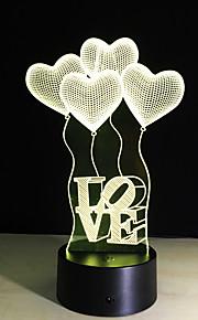 3d bulbo visuais colorida da ilusão óptica candeeiro de mesa levou toque romântico feriado luz noite baymax amo presentes de casamento do