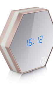 usb opladen multifunctionele spiegelglas wekker nachtverlichting snooze digitale muur light-emitting thermometer helderheid klok