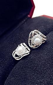 Ikke-sten Stangøreringe Smykker Dame Daglig Afslappet Perle 1 par Sølv