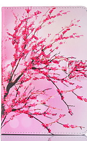 For IPad 234 Case Cover Peach Blossom Pattern PU Skin Material Flat Protective Shell