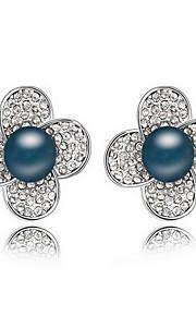 Perle Lyserød Blomstformet Stangøreringe Smykker Natur Daglig Legering 1 par Sort Hvid Kobberfarvet Grå Mørk Marineblå