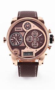 Relógio Esportivo Relógio de Moda Quartzo Couro Banda Casual Preta Marrom