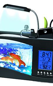 Mini Aquarium Fish Tank LED Colorful Light Calendar Digital Clock USB