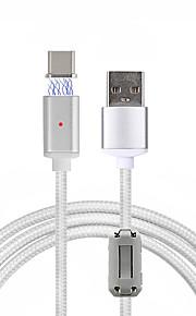 USB 2.0 Tipo C Intrecciato A calamita Cavi Per Samsung Huawei HTC LG Xiaomi 100 cm Nylon Alluminio