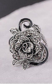 Ringe Blomstformet Blomster Mode Personaliseret Euro-Amerikansk Daglig Afslappet Smykker Legering Sølvbelagt Ring 1 Stk.,17 18 19 Sølv