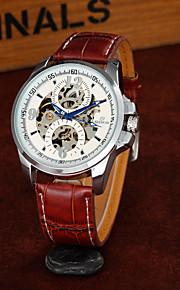 Masculino Relógio Esqueleto Relógio de Moda relógio mecânico Automático - da corda automáticamente Gravação Oca PU BandaLegal Casual