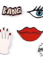 Brocher Alfabetformet Legering Multifarvet Logo Smykker Daglig