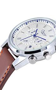 Unissex Relógio Elegante Quartzo Couro Banda Preta Marrom marca