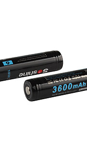 Soshine 2pcs 3600mAh ha protetto 18650 3.7V batterie ricaricabili al litio Li-ion set