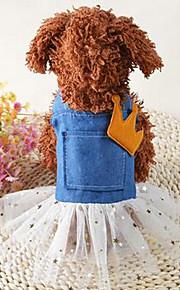개 드레스 강아지 의류 여름 꽃장식 귀여운 캐쥬얼/데일리 블루