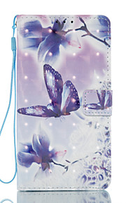 Para Cartera Soporte de Coche con Soporte Flip Diseños Magnética Funda Cuerpo Entero Funda Mariposa Dura Cuero Sintético para SamsungJ7